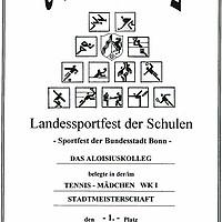 Tennis - Landessportfest der Schulen 2014 - Urkunde