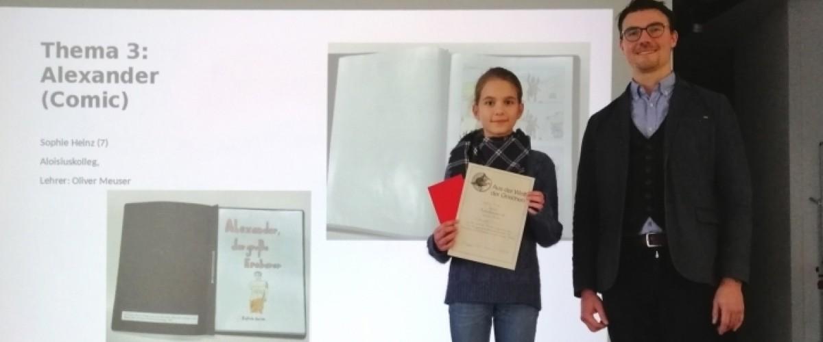 Sophie zusammen mit Herrn Meuser beim Wettbewerb in Bochum